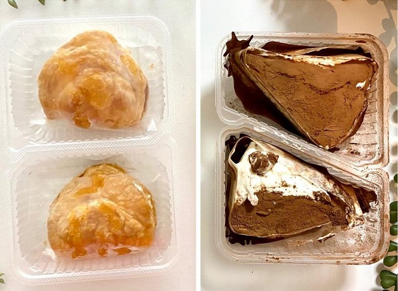 ローソンの冷凍スイーツ「アップルパイ」と「ティラミス」のパッケージと、袋から取り出した実物