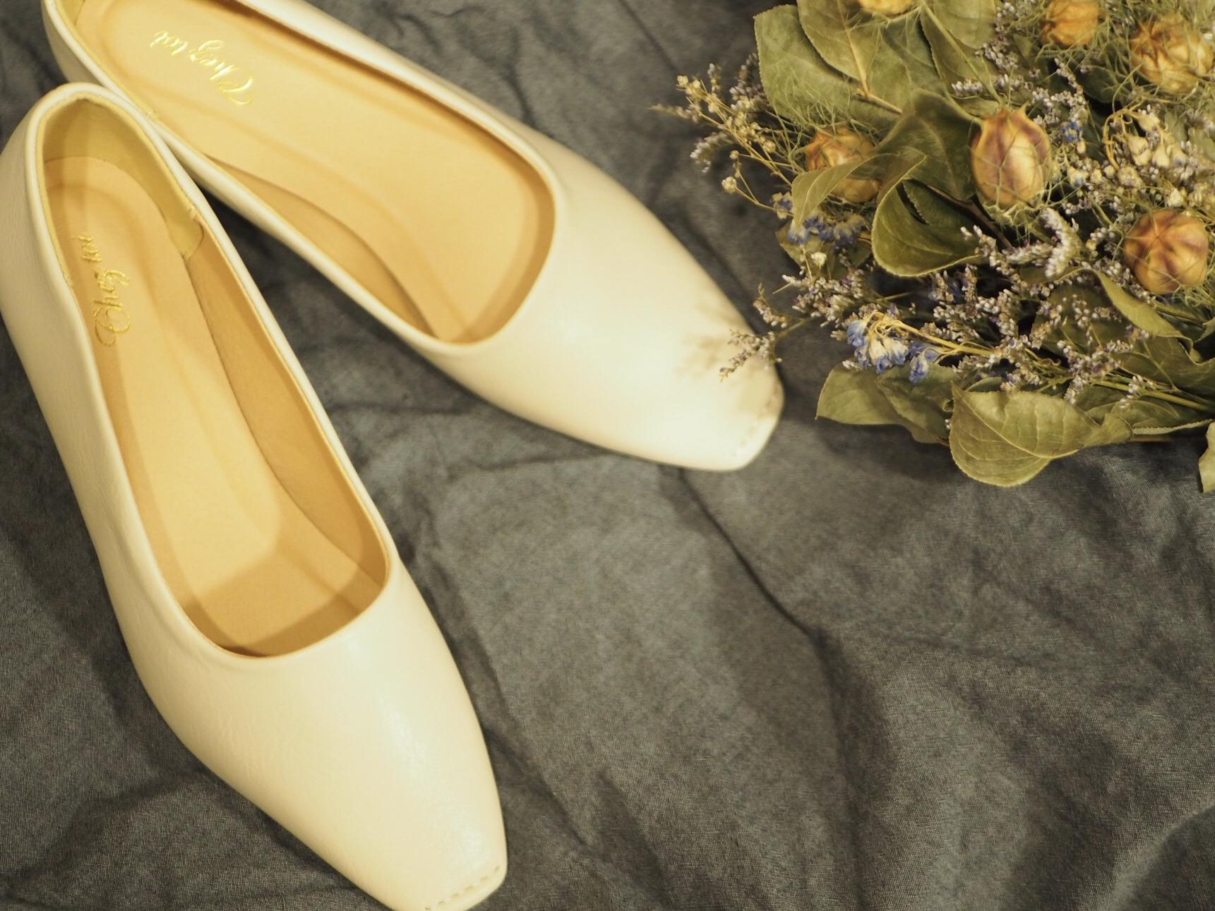 【プチプラ春靴】ホワイトカラーの《スクエアトゥシューズ》❃❃❃_1