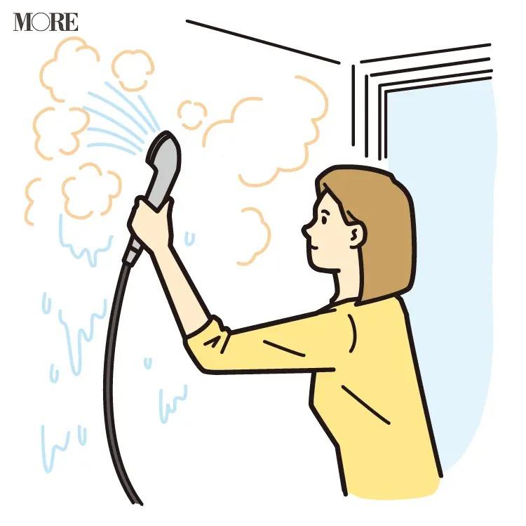 風水の開運掃除法で風呂場の壁に熱湯をかける女性