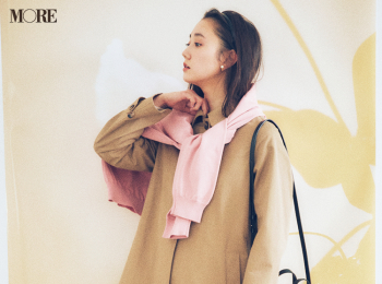 【今日のコーデ】<鈴木友菜>ホワイトデーは彼の家へ。ベージュのスプリングコートとピンクの相思相愛カラーで♡