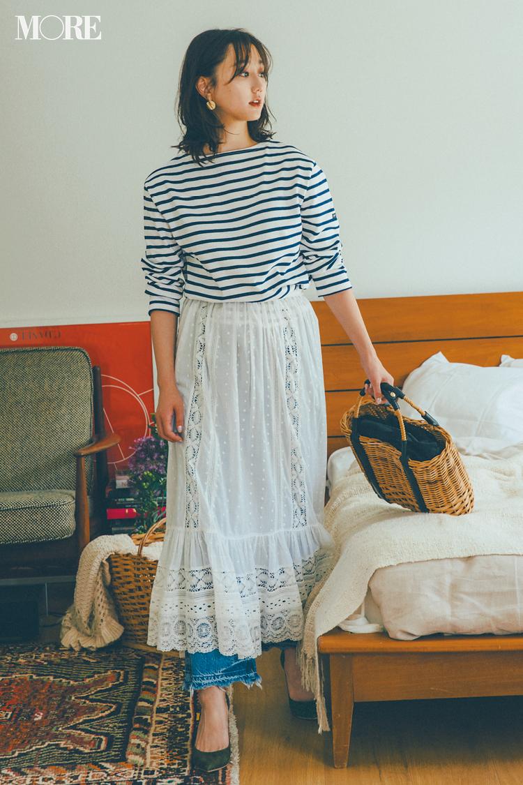 【今日のコーデ】<鈴木友菜>今年初のビアガーデン。王道カジュアル+白レーススカートで可愛くハジけて☆_1