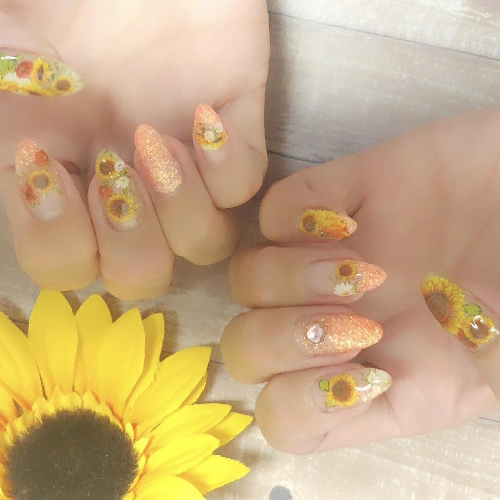 【夏ネイル・マニキュア】Summer  NAIL ♡Sun Flower  _3