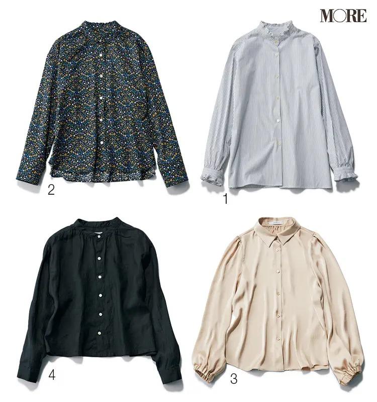 ウェーブタイプに似合うエリオポール、マッキントッシュ、MP STOREのシャツ