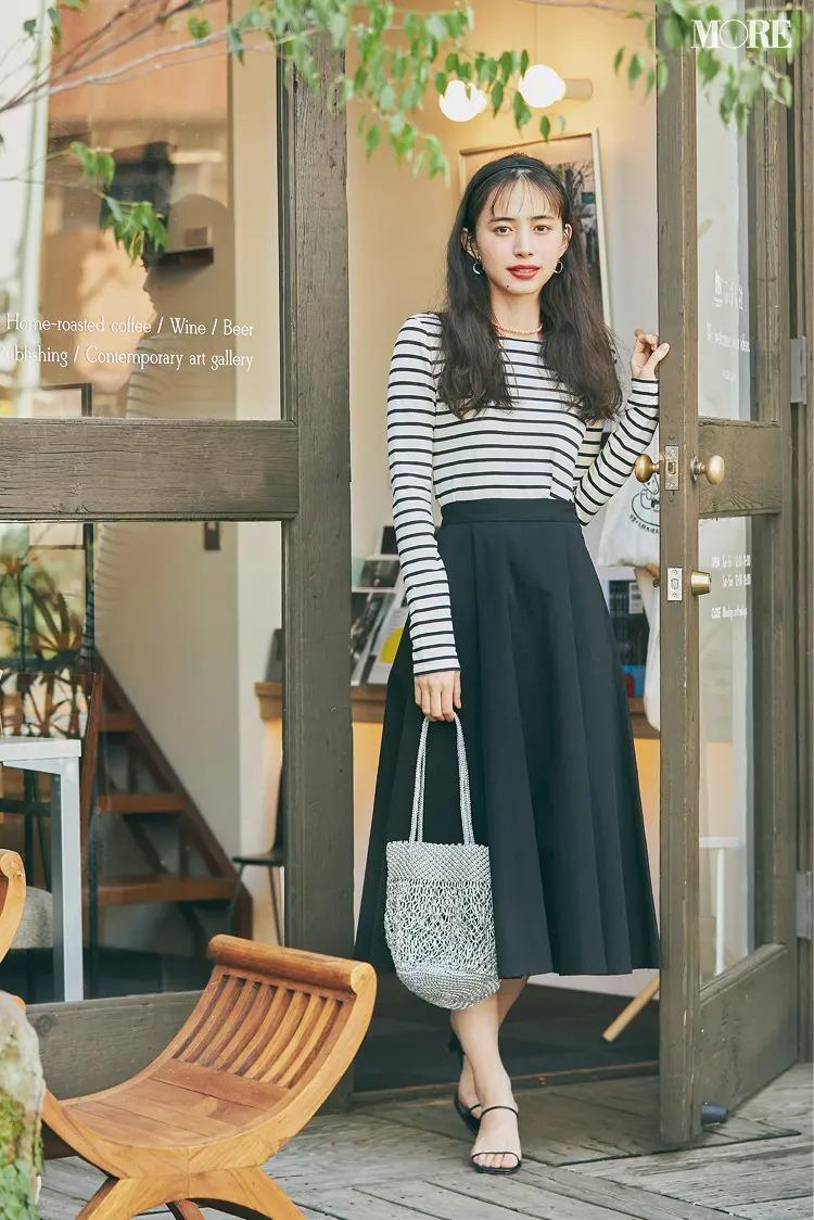 【ボーダーコーデ】黒白ボーダーT×黒スカートでモノクロコーデ