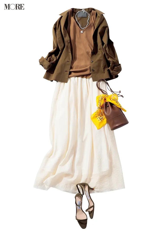 《開衿シャツの着痩せコーデ》ラフにはおっても絵になるやや厚手のワークジャケット風