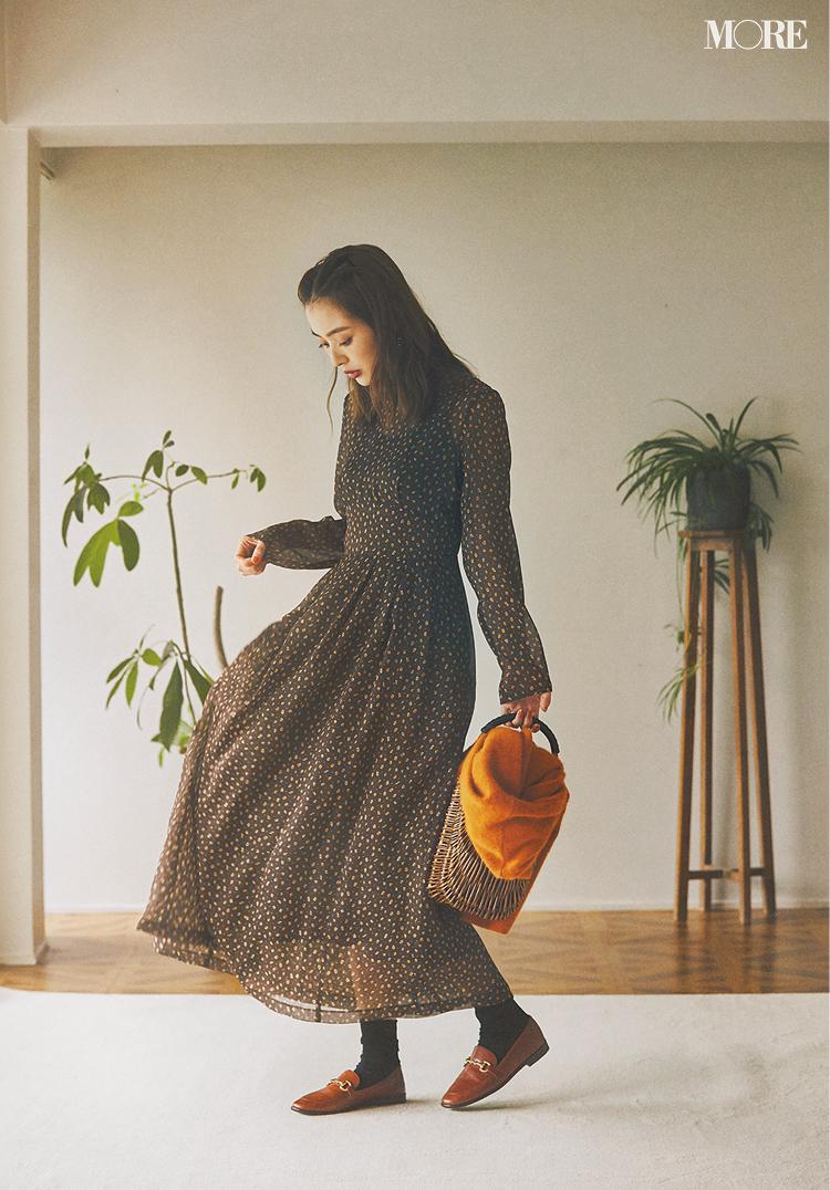 今買うワンピースを選ぶ基準は「ブラウス風」と「柄もの」。 内田理央がクラシカルに着こなします♡_1