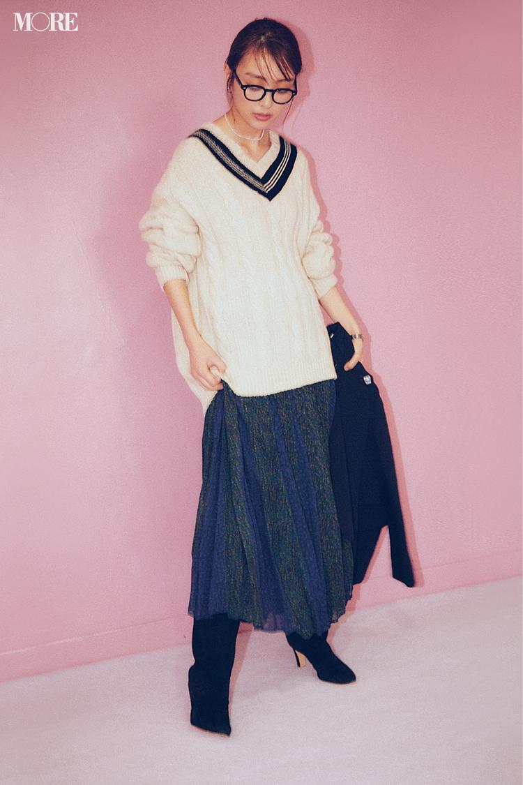 【今日のコーデ】<内田理央>後輩との飲み会は花柄スカートにチルデンニットで可愛く気さくな先輩に♪_1