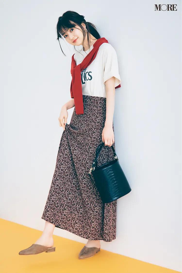 【カーディガンコーデ】甘いスカートをTシャツ&サンダルでハズして