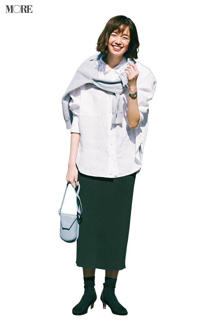 【今日のコーデ】<佐藤栞里>ロング&リーンなスカートでモノトーンコーデをあか抜けさせて_1