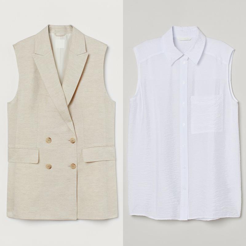 『H&M』の「LET'S CHANGE」キャンペーンコレクションのジレとシャツの画像