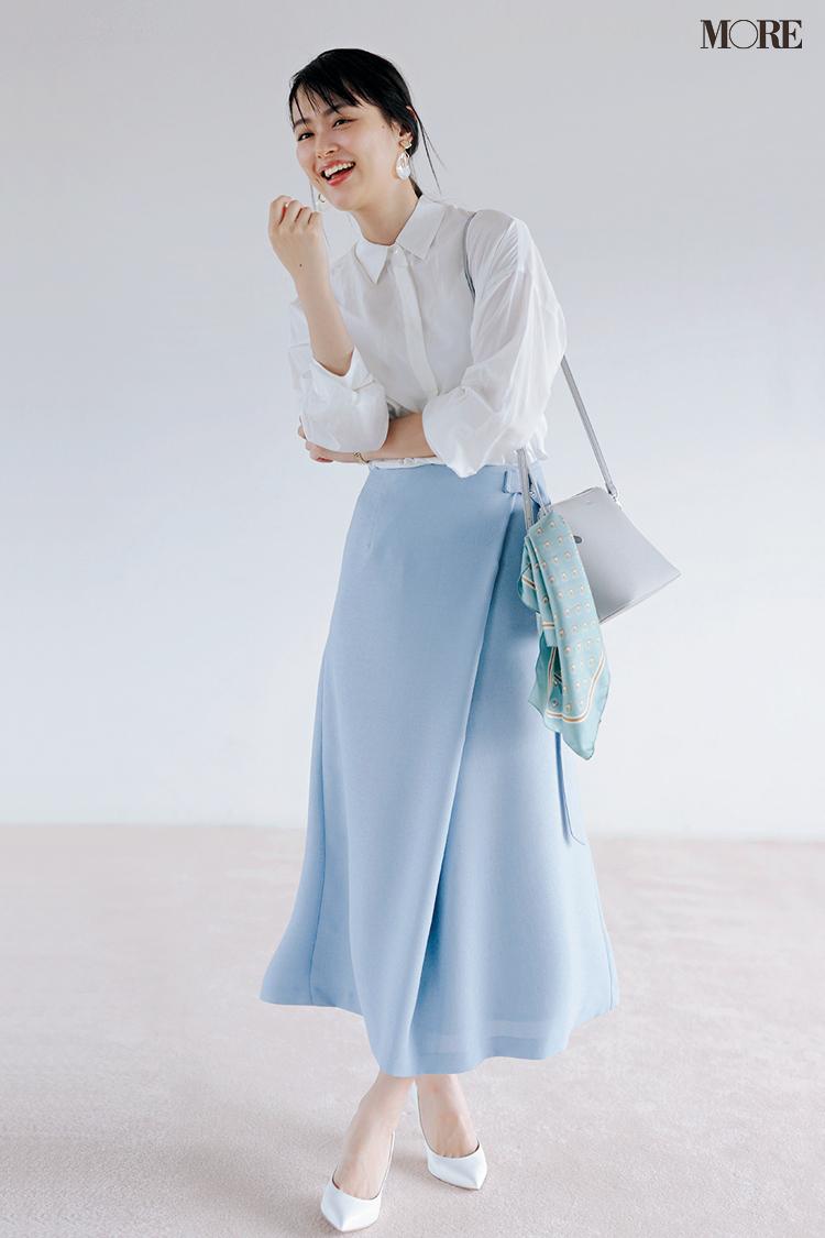 【今日のコーデ】<内田理央>清潔感あふれる白シャツとブルースカートで好感度を欲しいままに♡_1