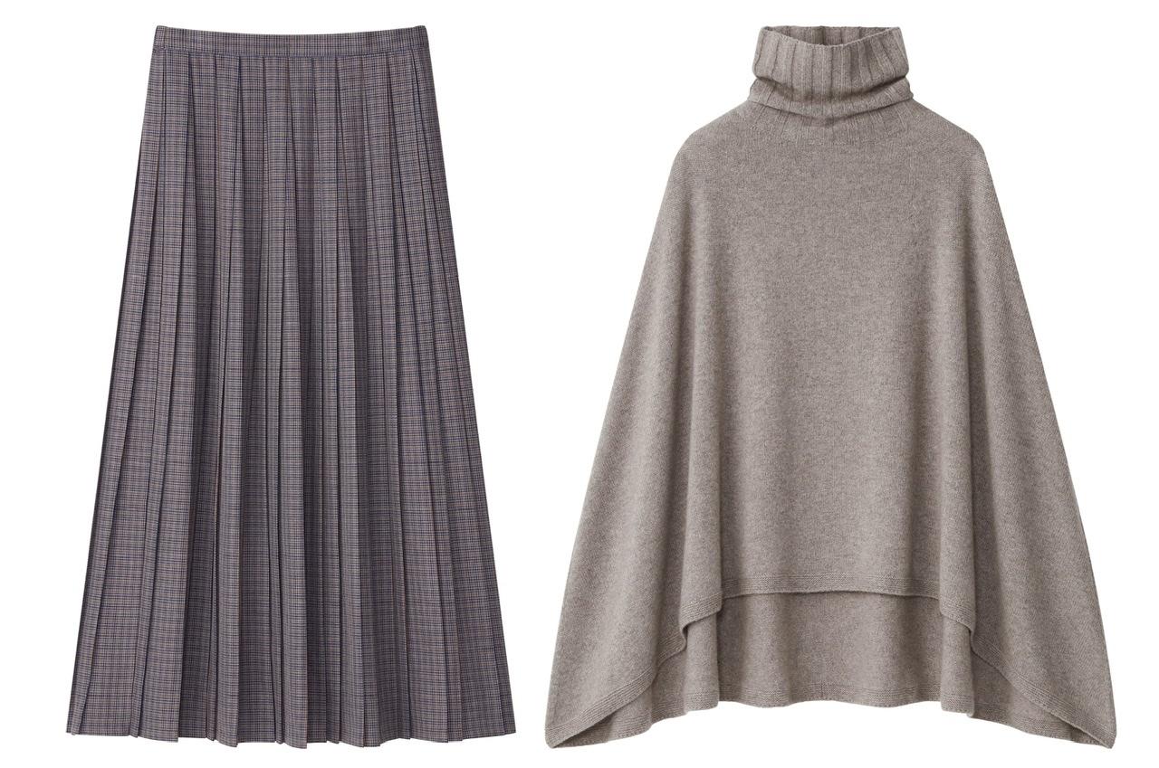 ユニクロ×イネスのニットポンチョとプリーツスカート