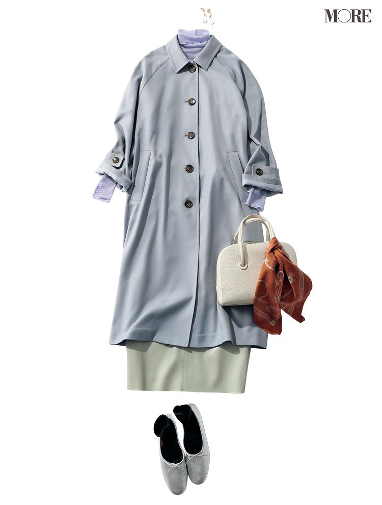 ステンカラーコートとタイトスカートのコーデ