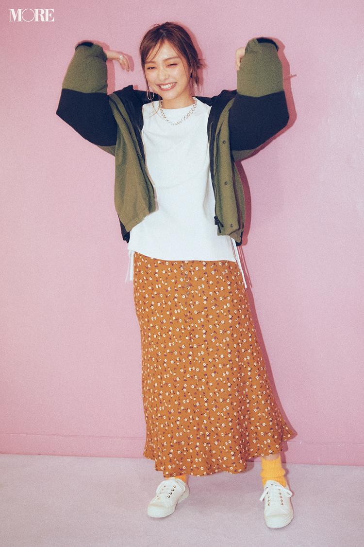 【今日のコーデ】<内田理央>遊園地デートの日は花柄スカートを思いっきりカジュアルダウンしてハッピーに♪_1