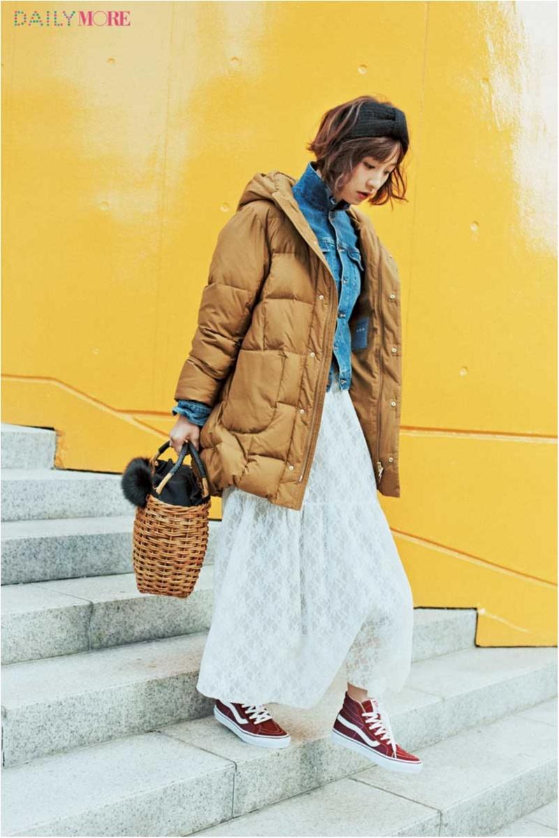 【今日のコーデ/篠田麻里子】甘いスカートが気分なら、ボリューミーなダウン&スニーカーで絶妙にテイストMIX!_1