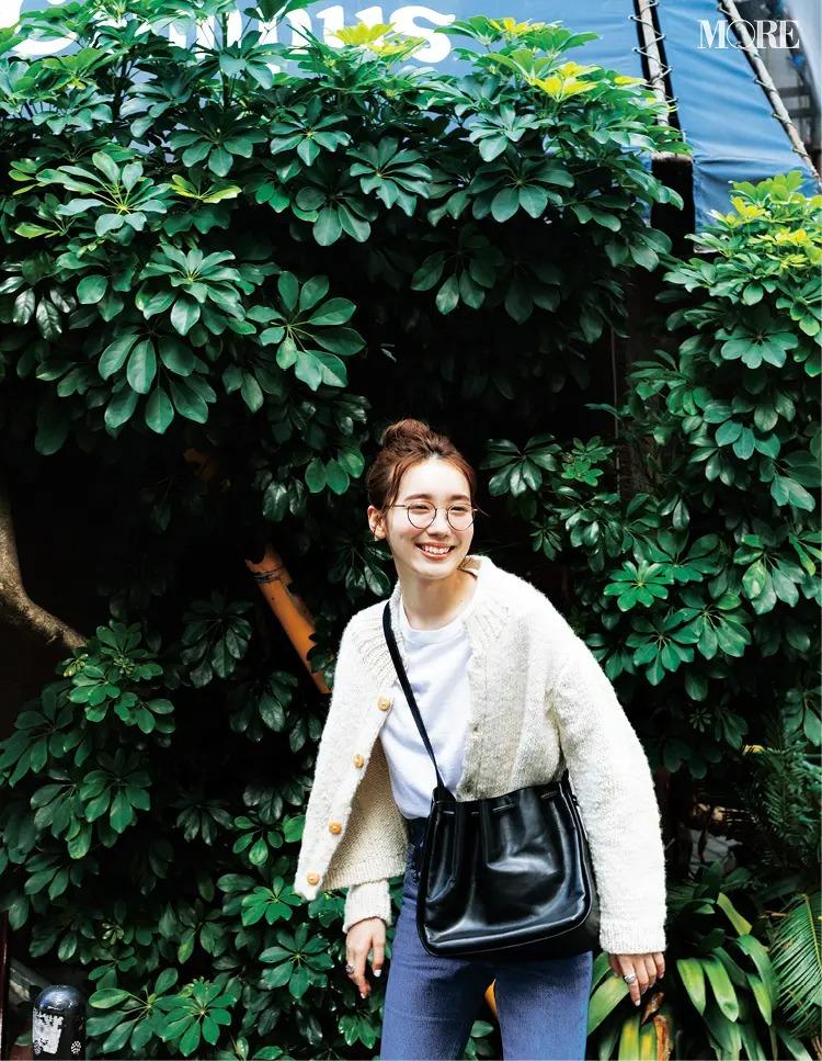 【秋冬カーディガンコーデ】厚手カーデは大好きな白T×デニムの組み合わせにすっとなじむのがうれしい♡