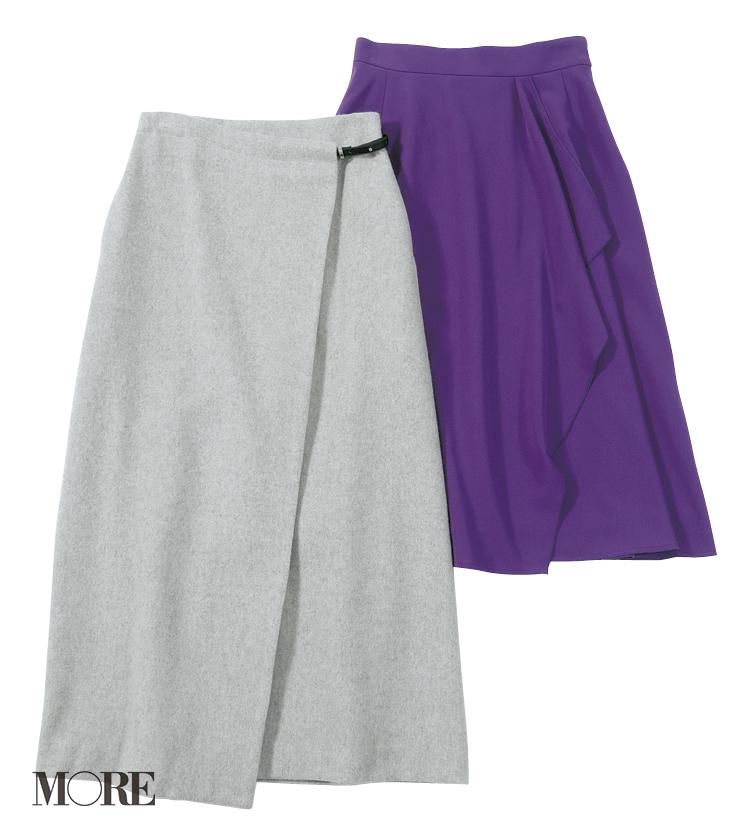 ミミアンドロジャーとリムアークの旬スカートはパープルとラップデザインが魅力