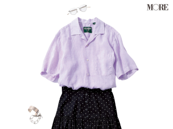 【今日のコーデ】暑い夏もおしゃれが楽しくなる!清涼感あふれるラベンダー色のリネンシャツを相棒に