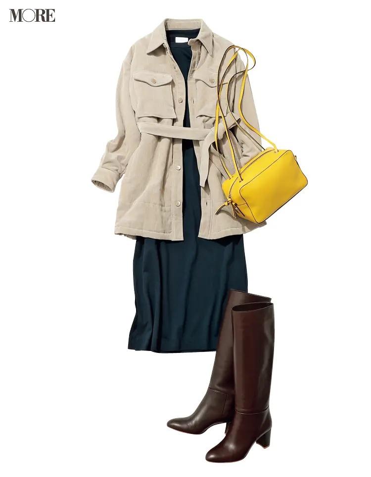 【秋オフィスカジュアル】シャツアウターにロングブーツ、旬小物で盛って