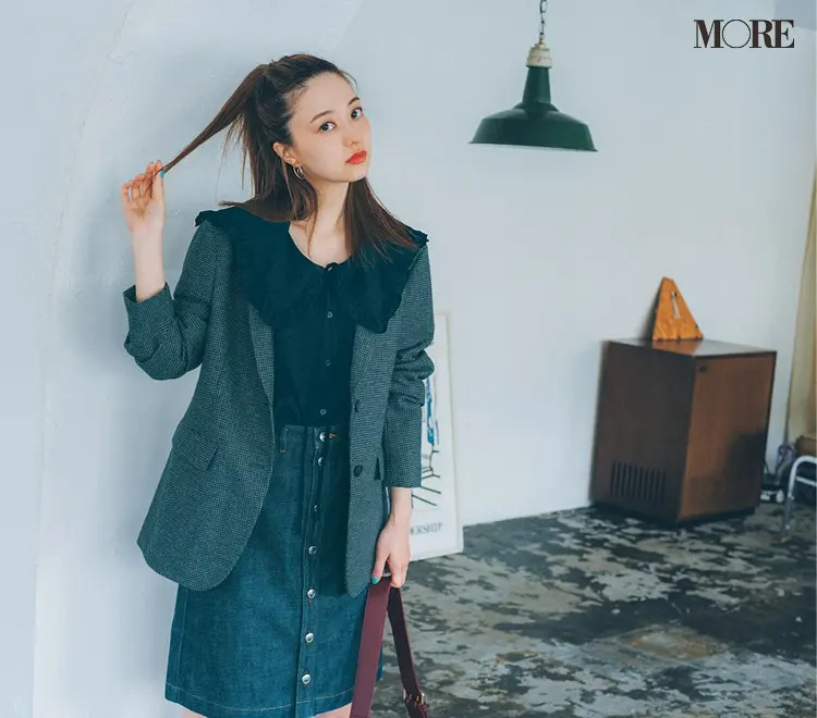 【2021秋コーデ】デニムスカート×衿つきブラウス×ジャケットのコーデ