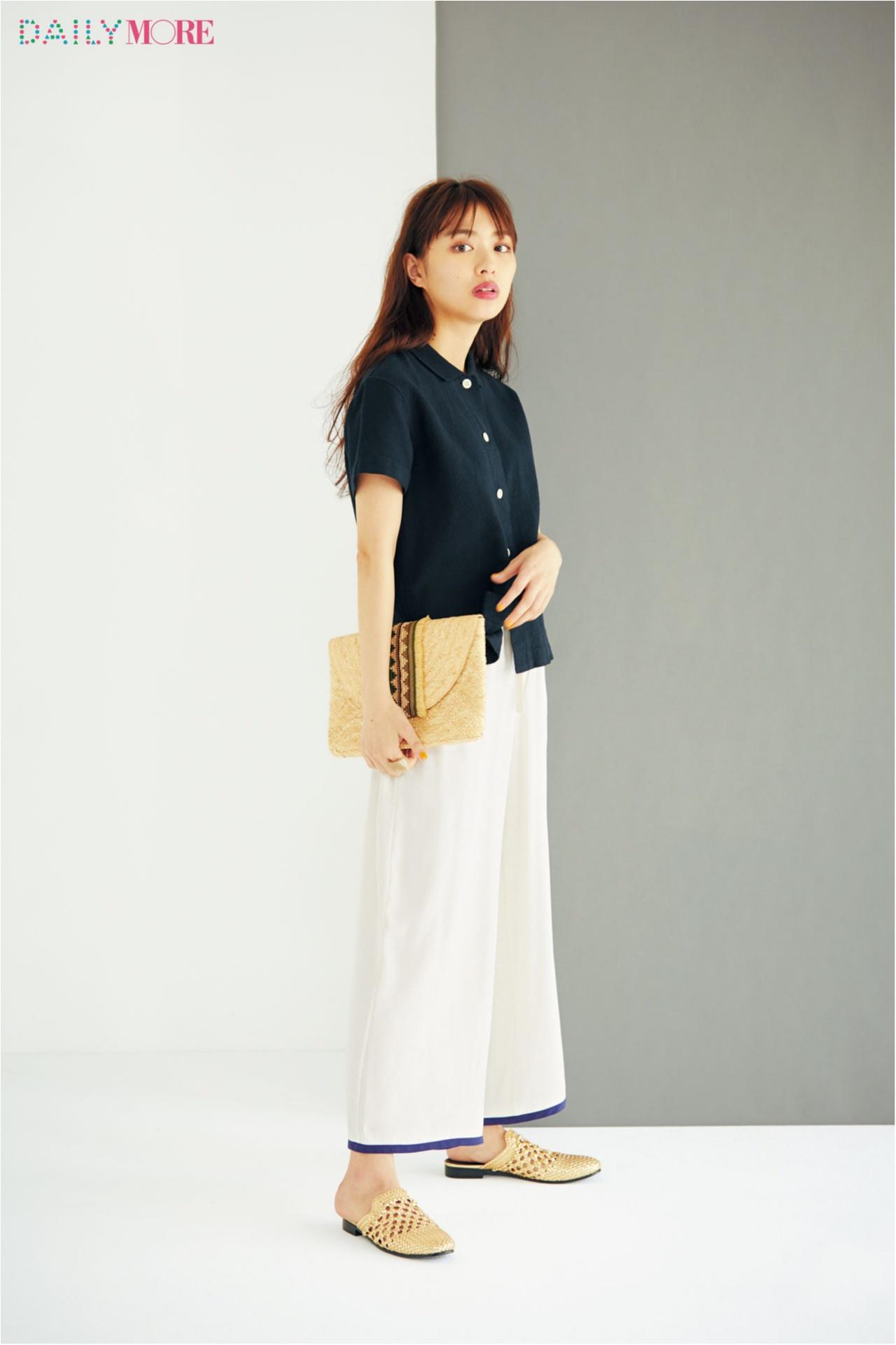 【今日のコーデ/内田理央】お気に入りのシャツとワイドパンツで、最高に好印象な夏モノトーン♪_1