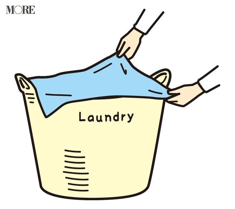 風水の開運掃除法で布をかけた洗濯かご