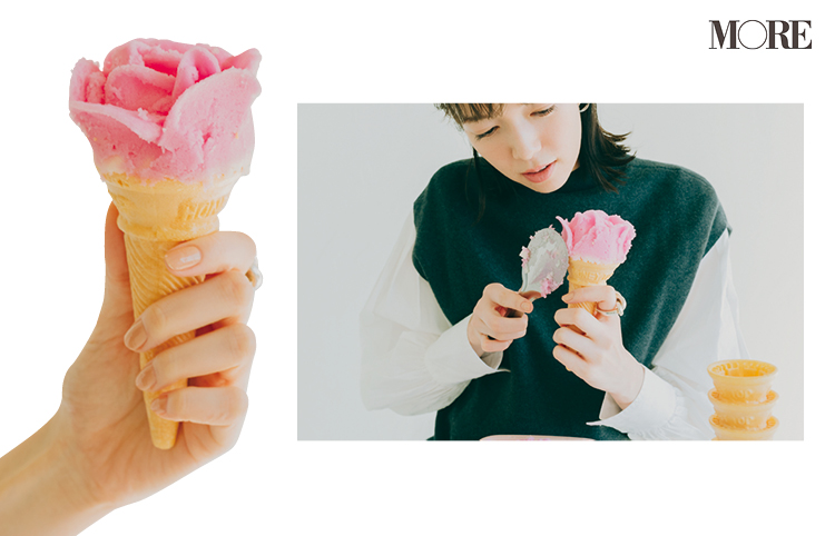 秋田県お取り寄せのバラ盛りアイスを作る佐藤栞里