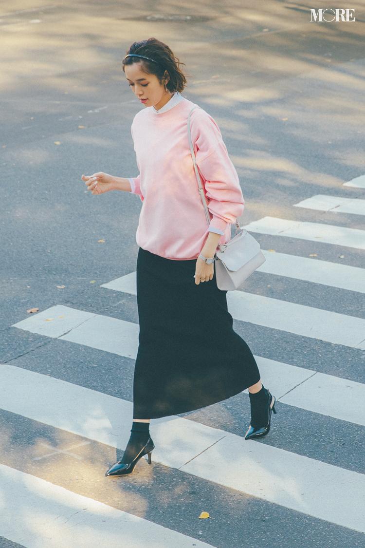 【今日のコーデ】<佐藤栞里>可愛げなピンクとモードな黒。鮮度抜群のカラーコーデでランチ女子会へ♪_1