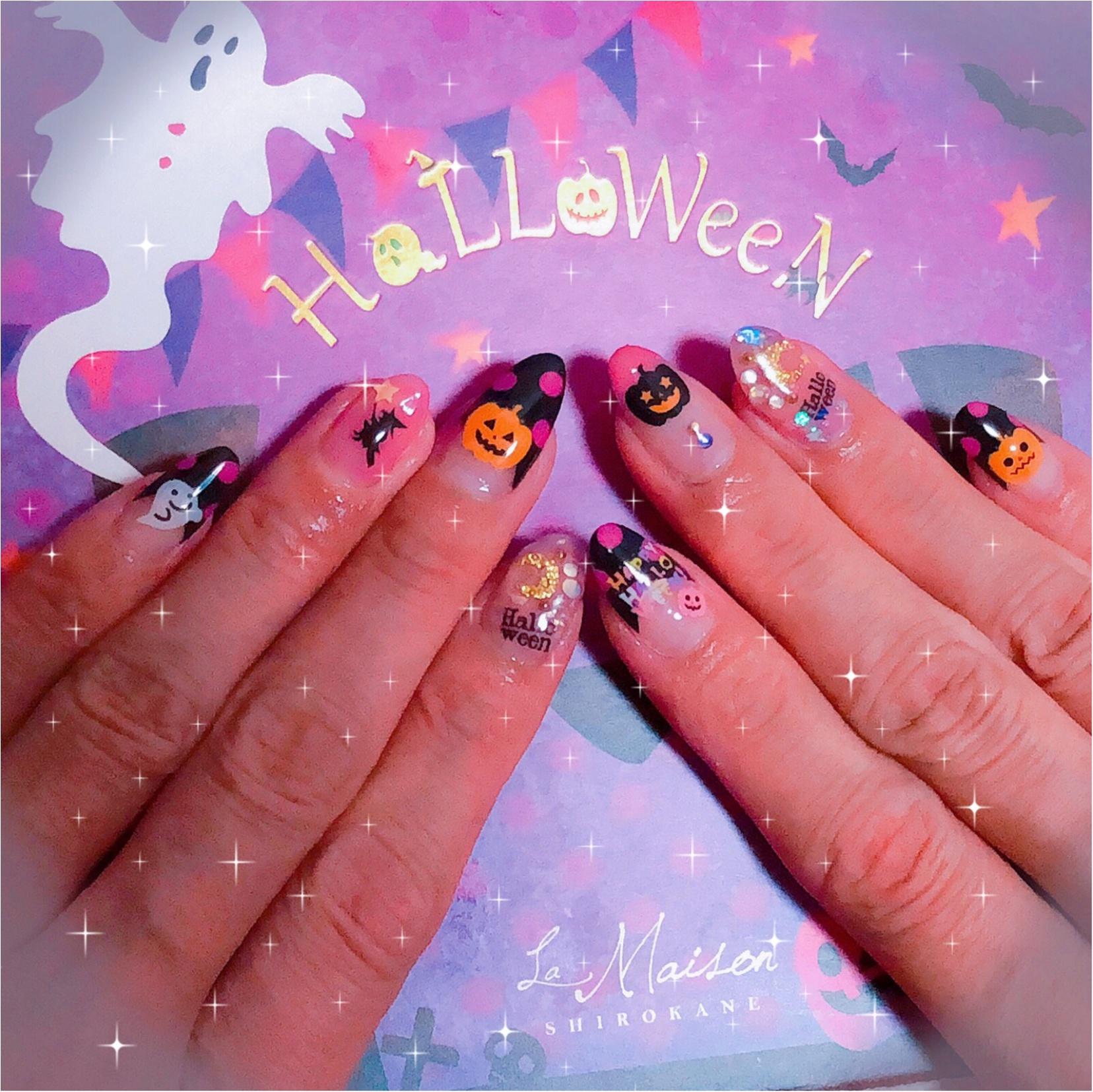 Halloween★NAIL〜10月ですね。季節感たっぷりのネイルにしました(o^冖^o)_1