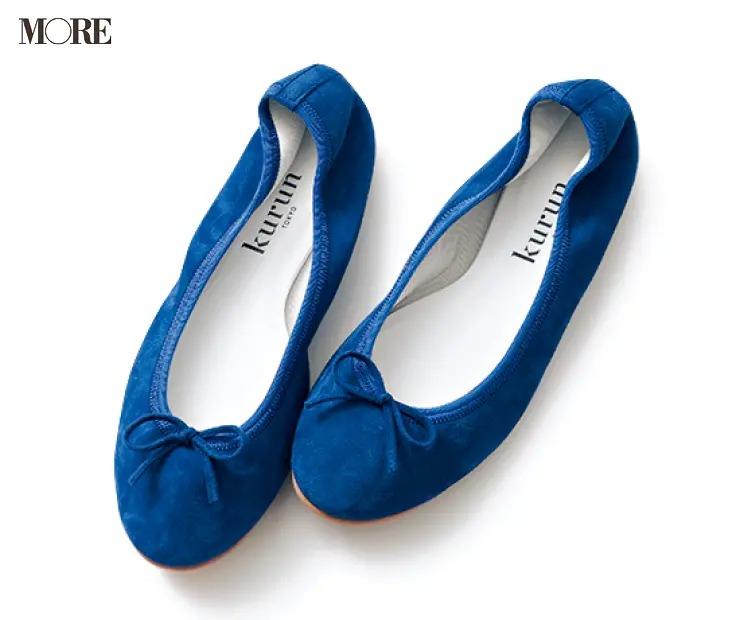 2020秋トレンドのスエード素材のバレエ靴