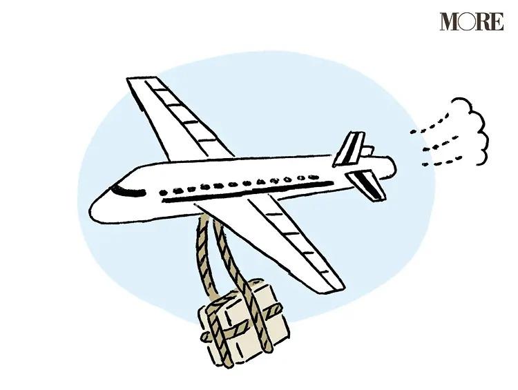 荷物を運ぶ飛行機のイラスト
