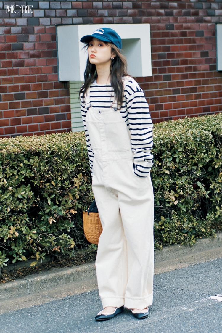 【今日のコーデ】白いサロペットにボーダーコーデの鈴木友菜