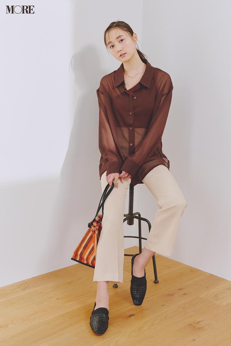 【今日のコーデ】<鈴木友菜>透けるシャツ+技ありインナーで簡単ワンツーコーデを感度高めに_1
