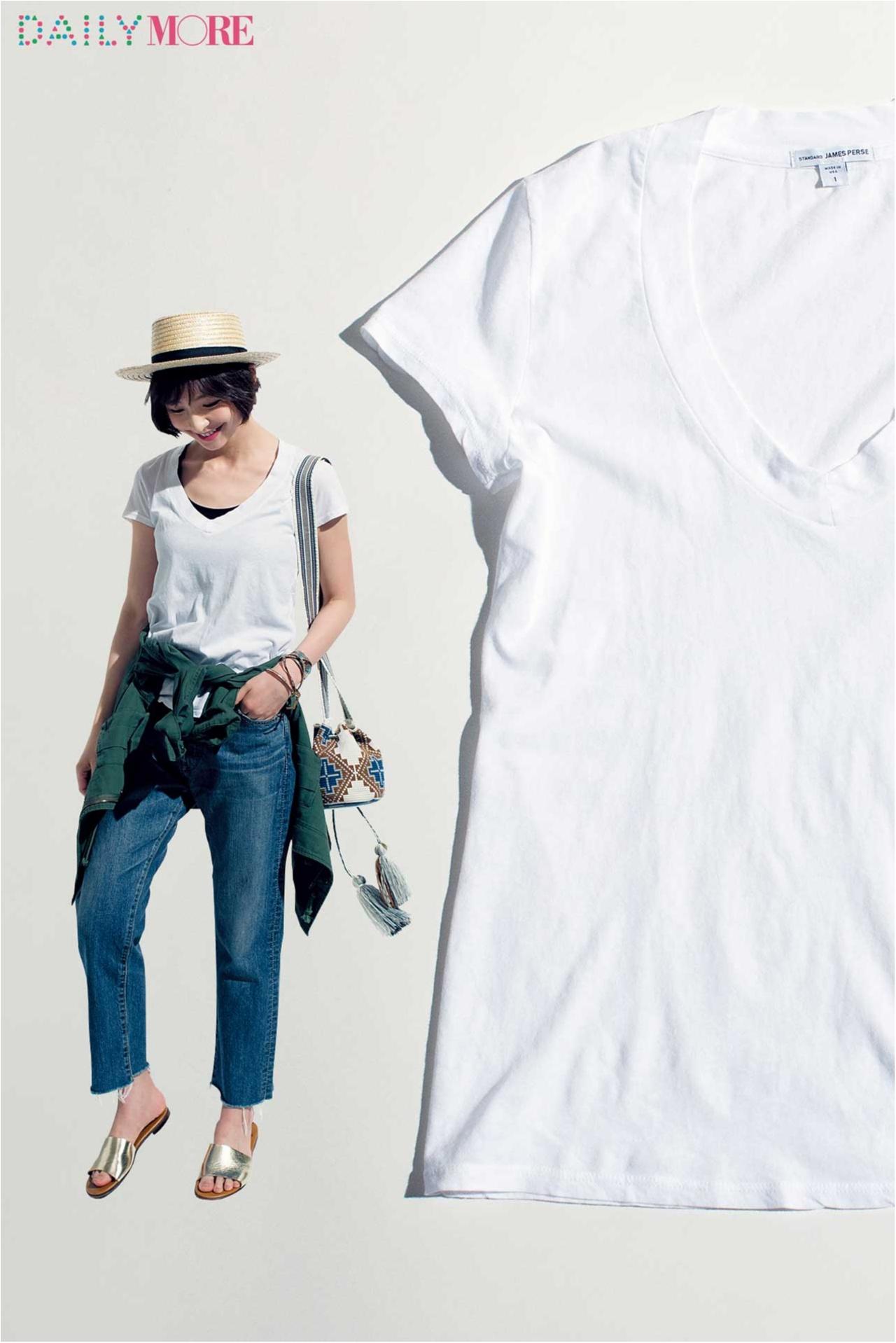 篠田麻里子がこだわる白Tシャツ講座!【ジェームス パース&モンローの薄ゆるT編】_1