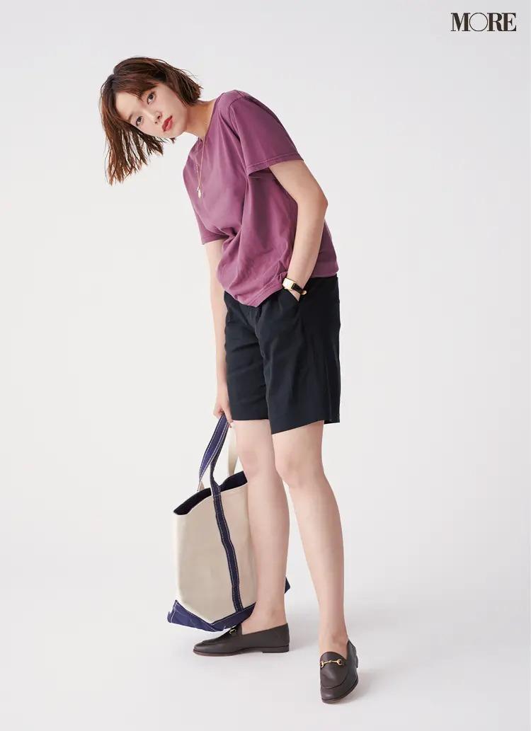 【2020夏コーデ】ひざ上丈パンツ×Tシャツ。でも腕時計で「大人感」
