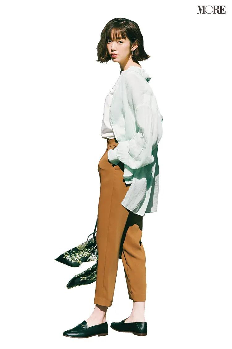 【おしゃれなレディースシャツコーデ】シアーなミントグリーン&ビッグシルエットで爽やかにこなれて♪