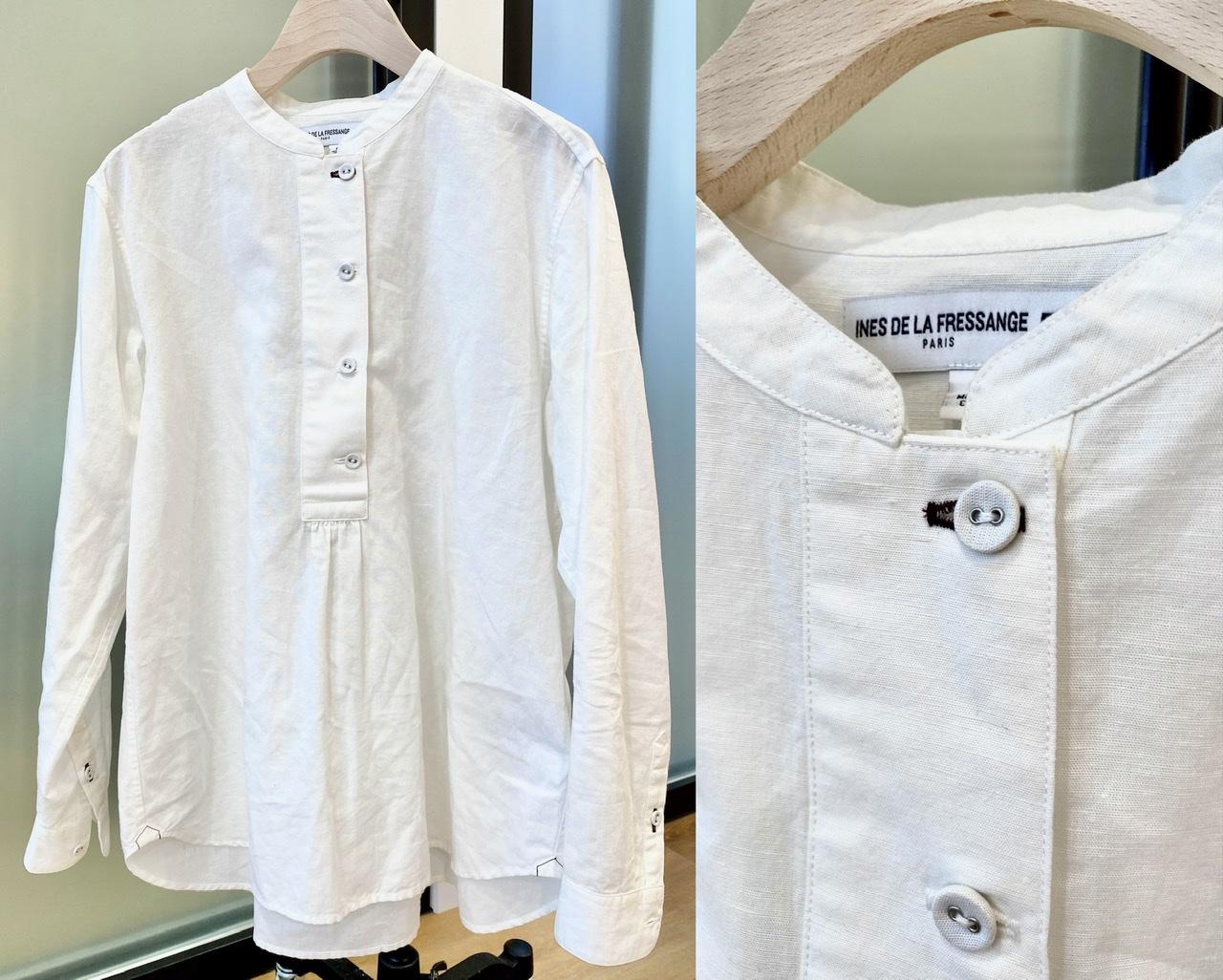 ユニクロ×イネス・ド・ラ・フレサンジュのコットンリネンスタンドカラーシャツ