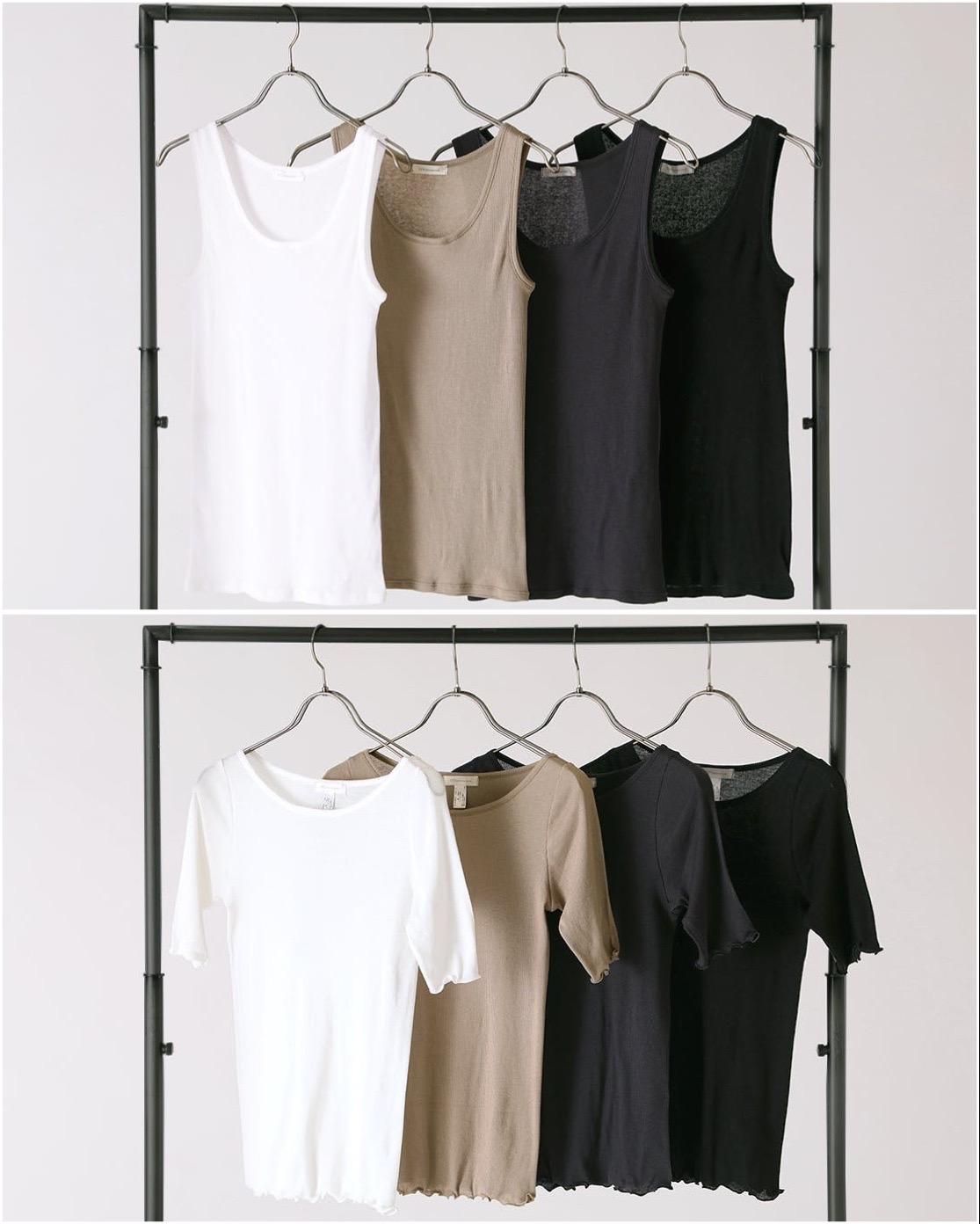 クラウンファンディングのリターンで購入できる、綿・カシミヤタンクトップと綿・カシミヤ半袖カットソー