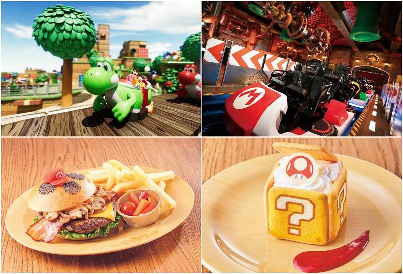 「マリオカート ~クッパの挑戦状~」やヨッシーのライド・アトラクションのイメージ写真と、キノピオカフェの一部メニュー