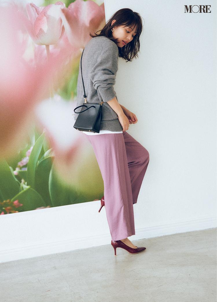 働く女子に必要な甘さときれいさは、モーヴピンクのパンツ×グレー配色で楽々クリア♡ _3