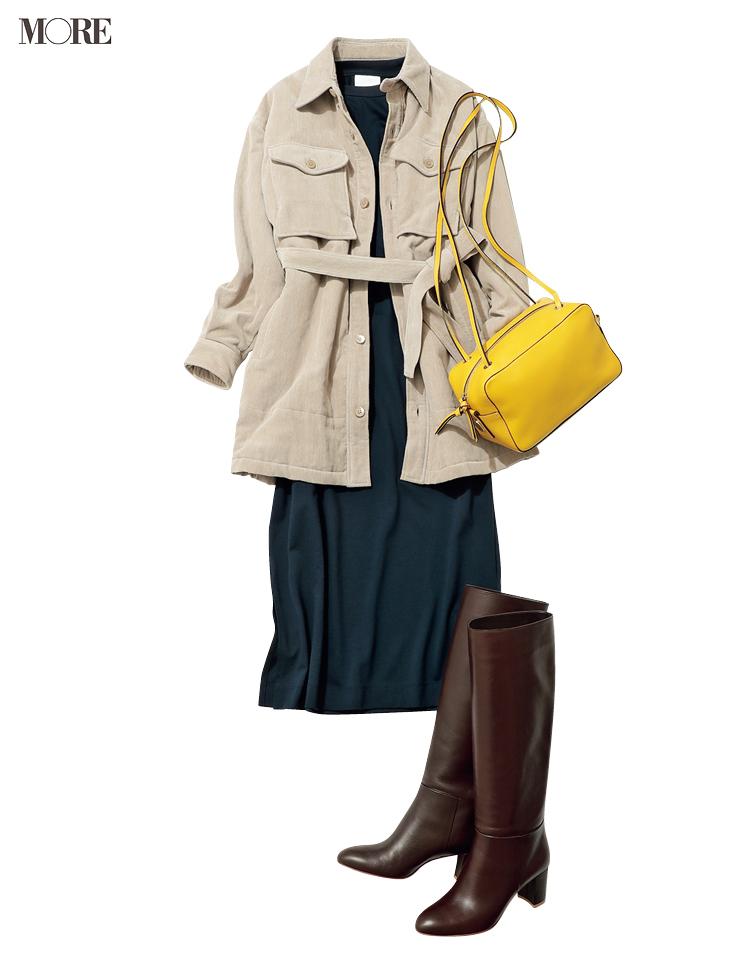 """カットソーワンピースをオンの日に着るなら、""""小物""""と""""レイヤード""""に気をつけてきれいめシフトへ!_4"""