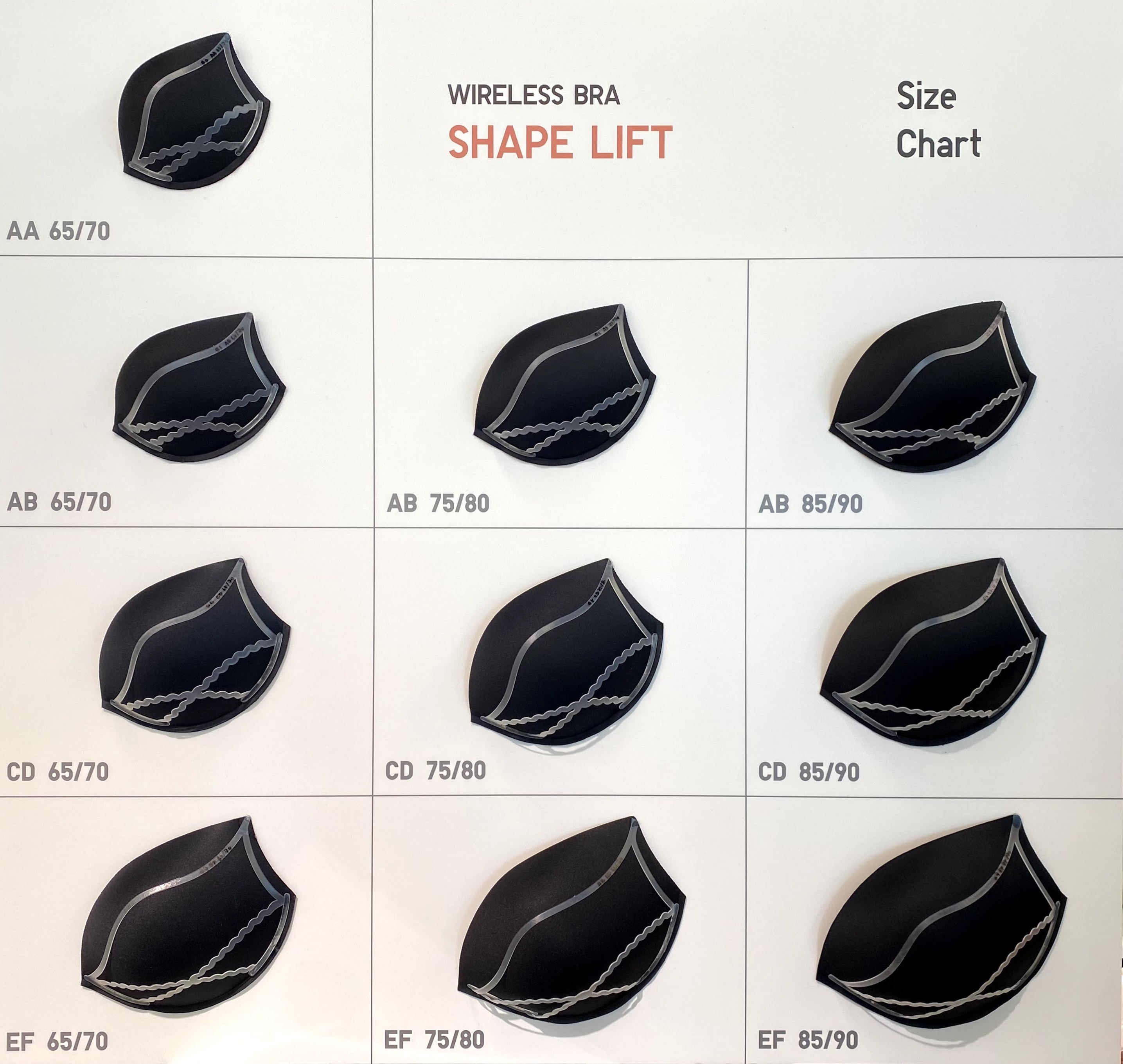 ワイヤレスブラシェイプリフトのサイズチャート