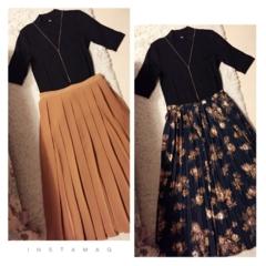 ♡SNSで話題!!ユニクロのリブハイネックT(1000円)とGUスカートで秋コーデ作ってみました!!♡