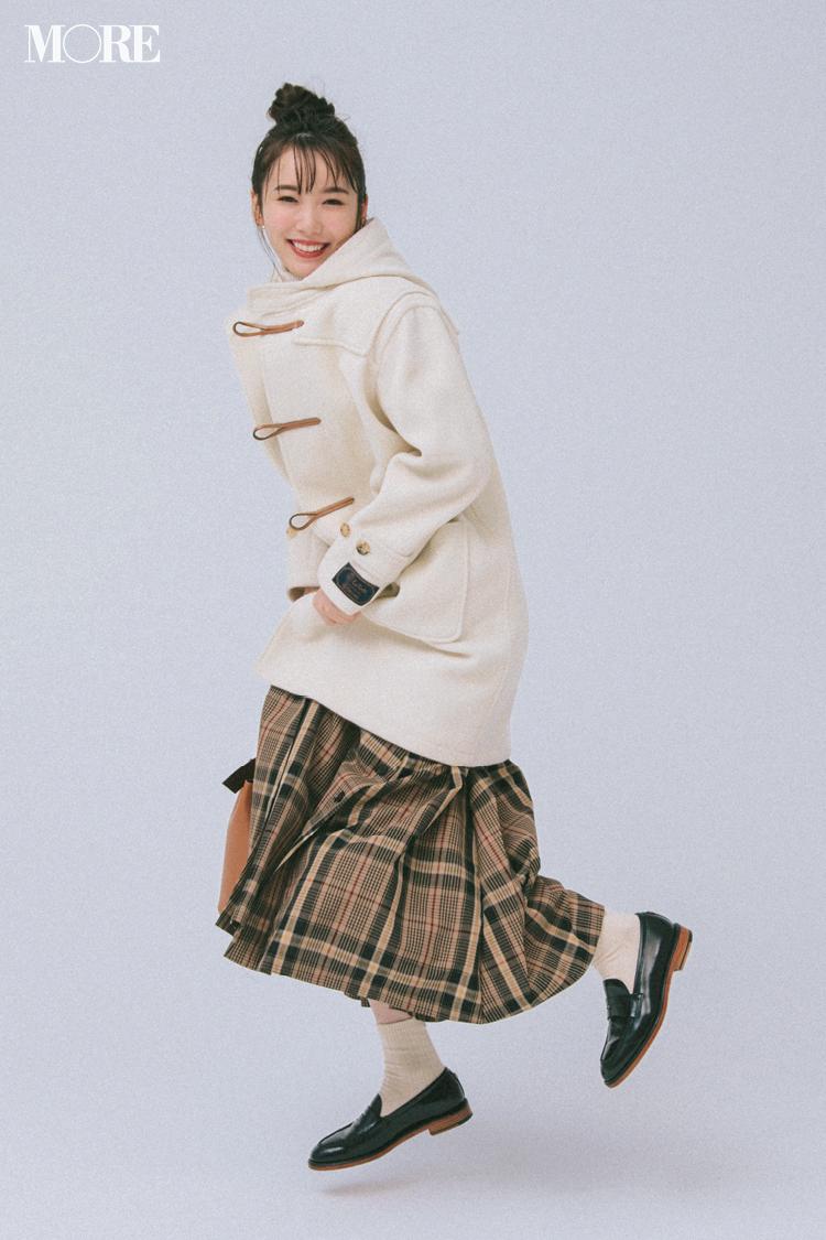 【今日のコーデ】夜は彼とお家クリスマス♡ チェック柄スカートとダッフルコートの最愛トラッドで!_1