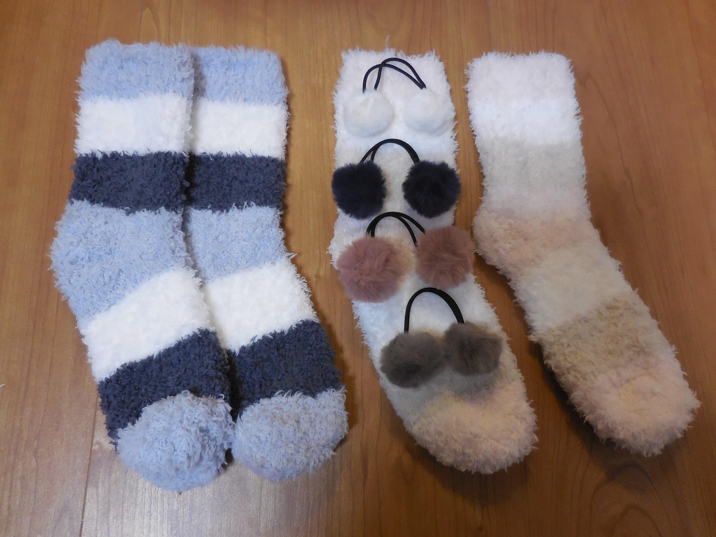 【ダイソー】もこもこした靴下とヘアゴム_1