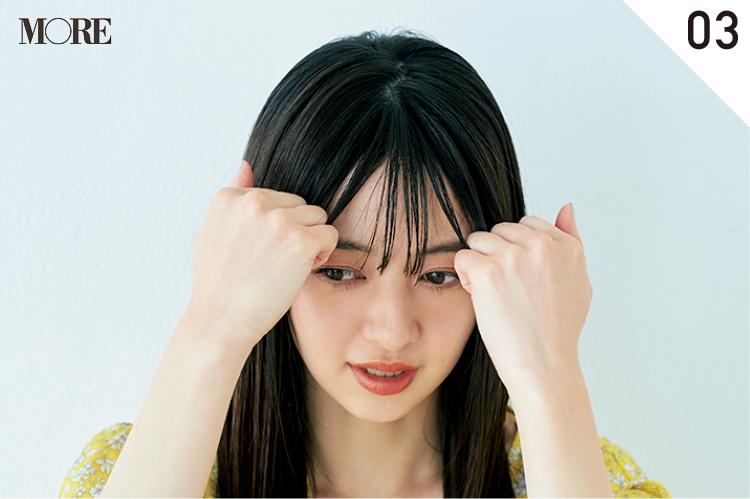"""小顔も透明感も叶う! """"今いちばん可愛い前髪""""の作り方教えます。基本のスタイリングはヘアオイルだけでOK ♬_8"""