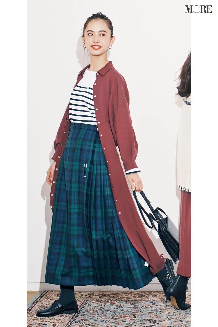 【2020-2021冬コーデ】シャツワンピース×ボーダートップス×チェック柄スカート