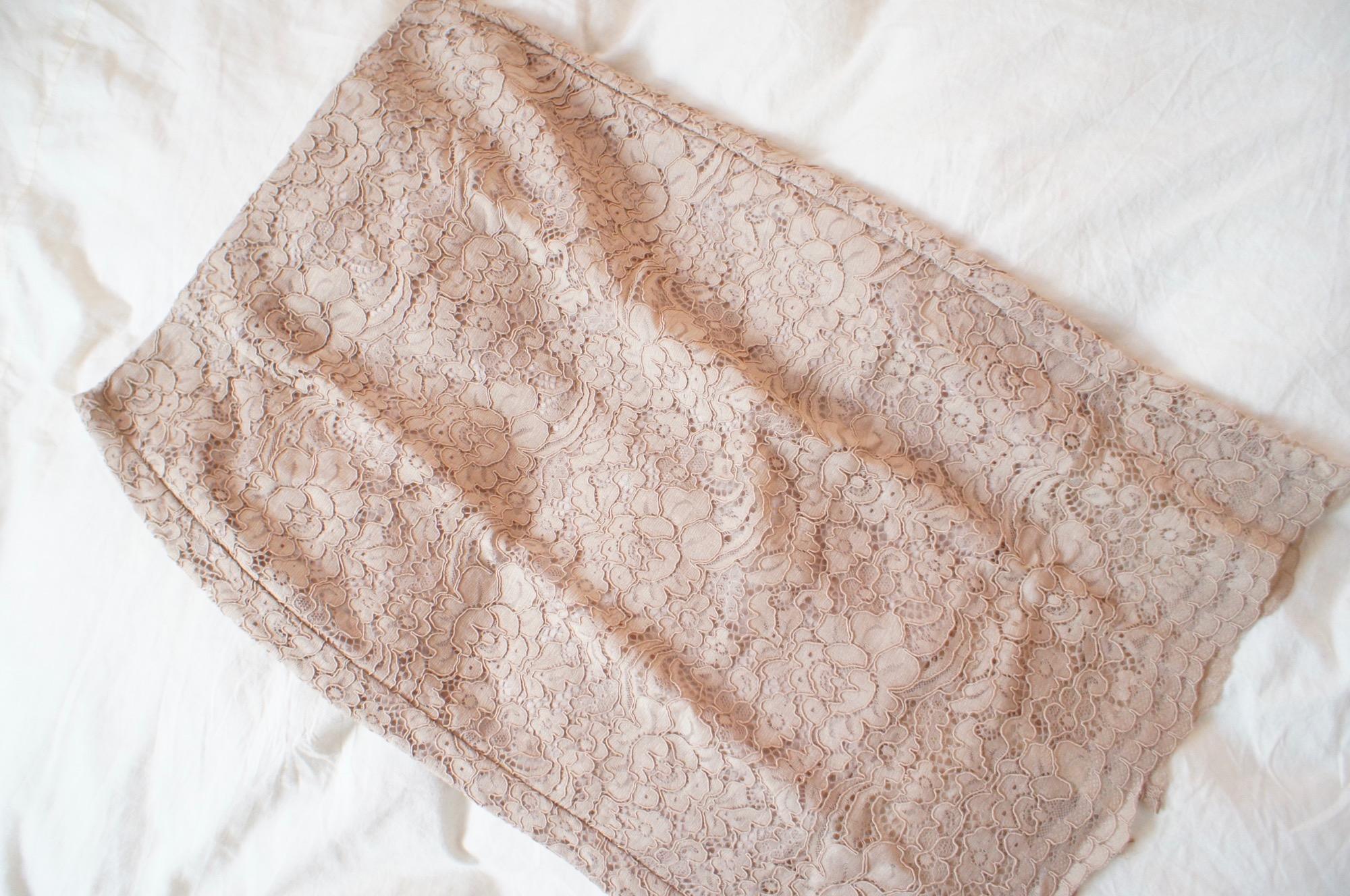 《#170cmトールガール》のプチプラコーデ❤️【GU】ベージュのレースタイトスカートが高見えで使える☻_1