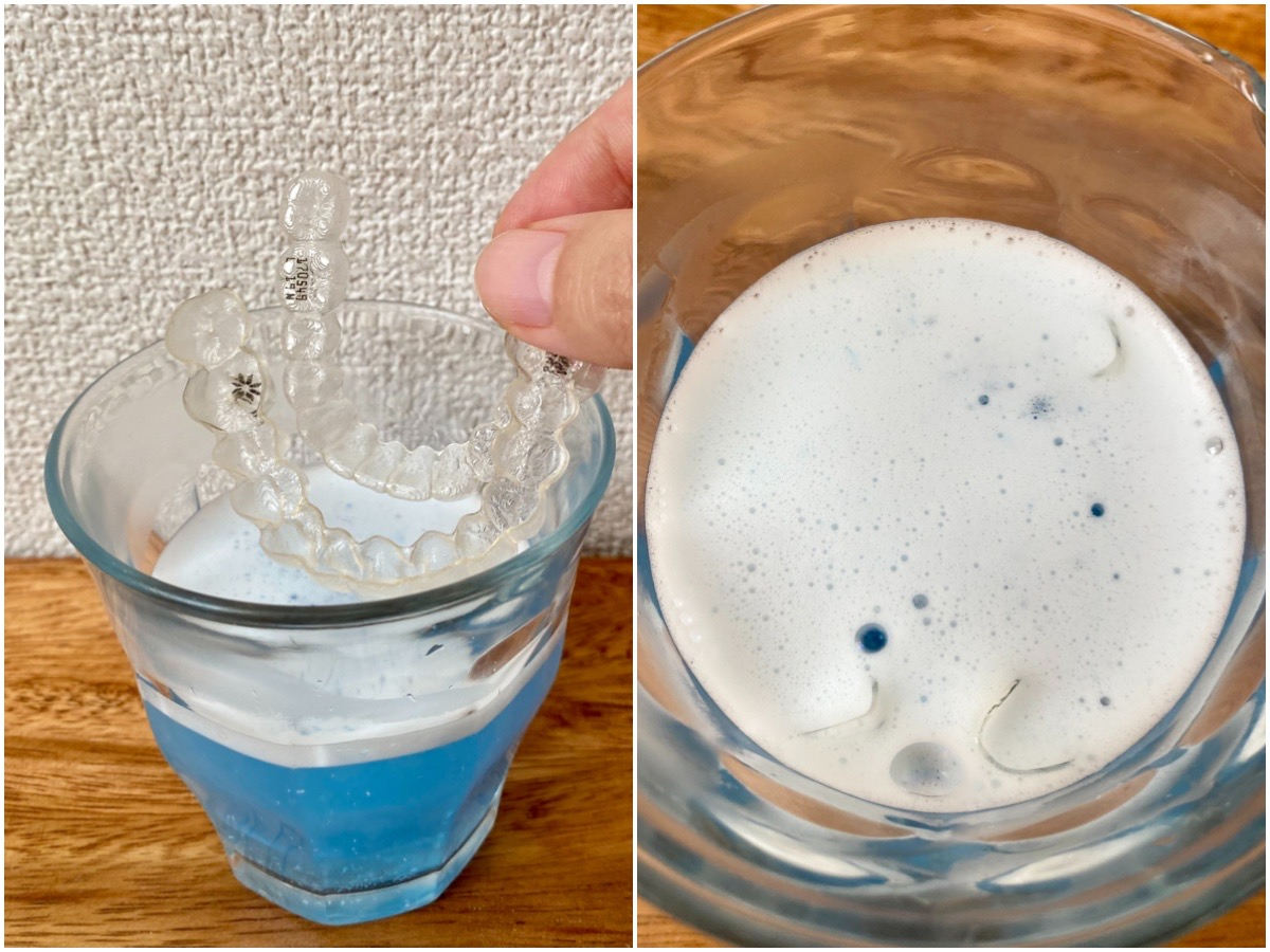 ポリデント「デンタルラボ」のマウスピース・マウスガード・矯正用リテーナー用洗浄剤の使い方