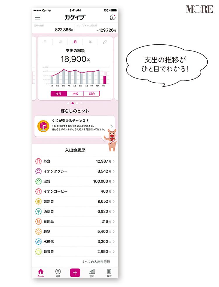 家計簿アプリ『カケイブ』の画面
